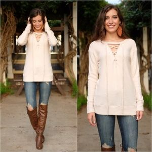 Cream Ultra Soft Tie Front Waffle Knit Tunic